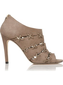 Bibbona Suede Shoe Boot Grey Clay - predominant colour: stone; occasions: casual, evening, work; material: suede; heel height: high; embellishment: zips; heel: stiletto; toe: open toe/peeptoe; boot length: shoe boot; style: standard; finish: plain; pattern: plain