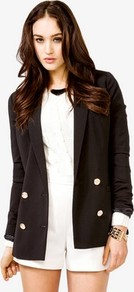 Crested Button Blazer - pattern: plain; style: double breasted blazer; length: below the bottom; collar: standard lapel/rever collar; predominant colour: black; occasions: casual, evening, work; fit: tailored/fitted; fibres: polyester/polyamide - 100%; waist detail: fitted waist; back detail: back vent/flap at back; sleeve length: long sleeve; sleeve style: standard; collar break: low/open; pattern type: fabric; pattern size: standard; texture group: other - light to midweight