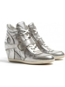 Silver Bowie Metallic Wedge Trainers - predominant colour: silver; occasions: casual; material: leather; heel height: mid; heel: wedge; toe: round toe; boot length: ankle boot; style: high top; trends: metallics; finish: metallic; pattern: plain