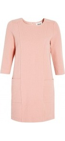 Rose Textured Jersey Shift Dress - style: shift; length: mid thigh; neckline: round neck; pattern: plain; hip detail: side pockets at hip; predominant colour: blush; occasions: casual, evening, work, occasion; fit: body skimming; fibres: cotton - mix; sleeve length: 3/4 length; sleeve style: standard; trends: glamorous day shifts; pattern type: fabric; pattern size: standard; texture group: other - light to midweight