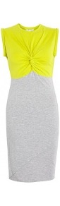 Chartreuse Twist Top Jersey Dress - style: shift; fit: tight; pattern: plain, colourblock; sleeve style: sleeveless; waist detail: fitted waist, twist front waist detail/nipped in at waist on one side/soft pleats/draping/ruching/gathering waist detail; hip detail: fitted at hip, contrast fabric/print detail at hip; shoulder detail: contrast pattern/fabric at shoulder; back detail: contrast pattern/fabric at back; bust detail: ruching/gathering/draping/layers/pintuck pleats at bust, knot twist front detail at bust, contrast pattern/fabric/detail at bust; predominant colour: light grey; occasions: casual, evening, work; length: just above the knee; fibres: cotton - mix; neckline: crew; sleeve length: sleeveless; texture group: jersey - clingy; trends: glamorous day shifts, fluorescent; pattern type: fabric; pattern size: big & light