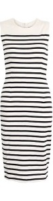 Amusa Jersey Striped Sleeveless Dress - style: shift; neckline: round neck; fit: tailored/fitted; pattern: horizontal stripes; sleeve style: sleeveless; waist detail: fitted waist; hip detail: fitted at hip; shoulder detail: contrast pattern/fabric at shoulder; predominant colour: ivory; occasions: casual, evening, work; length: just above the knee; fibres: cotton - 100%; bust detail: contrast pattern/fabric/detail at bust; sleeve length: sleeveless; texture group: jersey - clingy; trends: striking stripes, glamorous day shifts; pattern type: fabric; pattern size: standard