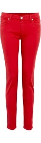Tango Red Mid Rise The Skinny Jeans - style: skinny leg; pattern: plain; waist: low rise; pocket detail: traditional 5 pocket; predominant colour: true red; occasions: casual; length: ankle length; fibres: cotton - stretch; texture group: denim; pattern type: fabric; pattern size: standard