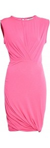 Elizao Sleeveless Jersey Dress - style: shift; sleeve style: sleeveless; waist detail: fitted waist, twist front waist detail/nipped in at waist on one side/soft pleats/draping/ruching/gathering waist detail; back detail: low cut/open back, keyhole/peephole detail at back; hip detail: fitted at hip, ruching/gathering at hip, soft pleats at hip/draping at hip/flared at hip; bust detail: ruching/gathering/draping/layers/pintuck pleats at bust; predominant colour: pink; occasions: casual, evening, occasion; length: just above the knee; fit: body skimming; fibres: polyester/polyamide - stretch; neckline: crew; sleeve length: sleeveless; texture group: jersey - clingy; trends: glamorous day shifts; pattern type: fabric; pattern size: standard