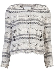 Lizzie Jacket - pattern: horizontal stripes, herringbone/tweed; collar: round collar/collarless; style: boxy; predominant colour: ivory; occasions: casual, evening, work; length: standard; fit: straight cut (boxy); fibres: cotton - mix; sleeve length: long sleeve; sleeve style: standard; collar break: high; pattern type: fabric; pattern size: big & light; texture group: woven light midweight