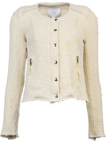 Regan Jacket - pattern: plain, herringbone/tweed; collar: round collar/collarless; style: boxy; predominant colour: ivory; occasions: casual, evening, work; length: standard; fit: straight cut (boxy); fibres: cotton - mix; sleeve length: long sleeve; sleeve style: standard; collar break: high; pattern type: fabric; pattern size: standard; texture group: tweed - light/midweight