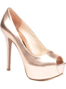 Cinched Leather Peep Toe Courts - predominant colour: gold; occasions: evening, occasion; material: leather; heel height: high; heel: platform; toe: open toe/peeptoe; style: courts; trends: metallics; finish: metallic; pattern: plain