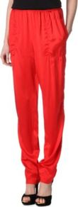 Silk Trousers - length: standard; pattern: plain; style: harem/slouch; pocket detail: pockets at the sides; waist: mid/regular rise; predominant colour: true red; occasions: evening; fibres: silk - 100%; hip detail: front pleats at hip level; texture group: silky - light; trends: fluorescent; fit: baggy; pattern type: fabric