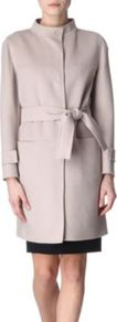 Belted Coat - pattern: plain; style: single breasted; hip detail: front pockets at hip; collar: high neck; fit: slim fit; length: mid thigh; predominant colour: stone; occasions: casual, evening, work, occasion; fibres: wool - mix; waist detail: belted waist/tie at waist/drawstring; sleeve length: long sleeve; sleeve style: standard; collar break: high; pattern type: knitted - big stitch; pattern size: standard; texture group: other - bulky/heavy