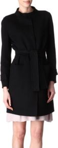 Belted Coat - pattern: plain; style: single breasted; hip detail: front pockets at hip; collar: high neck; fit: slim fit; length: mid thigh; predominant colour: black; occasions: casual, evening, work, occasion; fibres: wool - mix; waist detail: fitted waist, belted waist/tie at waist/drawstring; sleeve length: long sleeve; sleeve style: standard; collar break: high; pattern type: fabric; pattern size: standard; texture group: other - bulky/heavy
