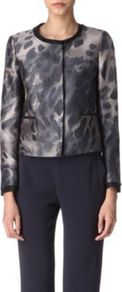 Camilla Leopard Print Jacket - collar: round collar/collarless; hip detail: front pockets at hip, contrast fabric/print detail at hip; style: boxy; predominant colour: mid grey; occasions: casual, evening, work, occasion; length: standard; fit: straight cut (boxy); fibres: cotton - mix; sleeve length: long sleeve; sleeve style: standard; texture group: structured shiny - satin/tafetta/silk etc.; trends: statement prints; collar break: high; pattern type: fabric; pattern size: standard; pattern: animal print, patterned/print