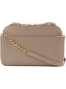 Lucy Small Shoulder Bag - predominant colour: taupe; occasions: casual, evening, work, occasion; style: shoulder; length: across body/long; size: small; material: leather; embellishment: tassels, zips, chain/metal; pattern: plain; finish: plain