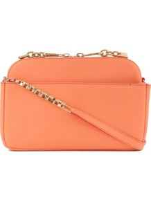Lucy Small Shoulder Bag - predominant colour: coral; occasions: casual, evening, work, occasion; style: shoulder; length: across body/long; size: small; material: leather; embellishment: tassels, zips, chain/metal; pattern: plain; trends: fluorescent; finish: plain