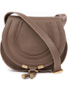 Marcie Small Saddle Bag - predominant colour: taupe; occasions: casual, evening, work, occasion; type of pattern: light; style: saddle; length: across body/long; size: small; material: leather; embellishment: applique, tassels, chain/metal; pattern: plain; finish: plain