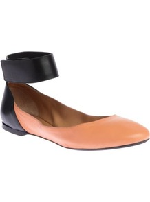 Charlotte Leather Pumps - predominant colour: nude; occasions: casual, work; material: leather; heel height: flat; ankle detail: ankle strap; toe: round toe; style: ballerinas / pumps; finish: plain; pattern: colourblock