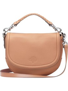 Effie Small Spongy Leather Satchel - predominant colour: nude; occasions: casual, evening, work; type of pattern: standard; style: saddle; length: across body/long; size: small; material: leather; embellishment: applique; pattern: plain; finish: plain
