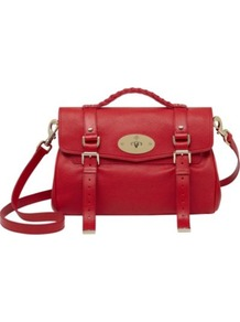 Valentines Alexa Glossy Goat Leather Satchel - predominant colour: true red; occasions: casual, evening, work; type of pattern: standard; style: satchel; length: across body/long; size: standard; material: leather; embellishment: studs, buckles, chain/metal; pattern: plain; finish: plain