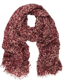 Scribbly Leopard Modal Scarf - predominant colour: burgundy; occasions: casual, work; type of pattern: standard; style: regular; size: standard; material: fabric; embellishment: fringing; pattern: animal print; trends: statement prints