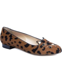 Kitty Leopard Print Pumps - predominant colour: tan; occasions: casual, work; material: animal skin; heel height: flat; embellishment: embroidered; toe: round toe; style: loafers; finish: plain; pattern: animal print