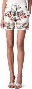 Thaissa Silk Shorts - style: shorts; waist detail: fitted waist, embellishment at waist/feature waistband, narrow waistband; pocket detail: large back pockets, pockets at the sides; length: mid thigh shorts; waist: mid/regular rise; predominant colour: white; occasions: casual, evening, work, holiday; fibres: silk - 100%; hip detail: front pleats at hip level, fitted at hip (bottoms); texture group: silky - light; trends: statement prints; fit: slim leg; pattern type: fabric; pattern size: big & busy; pattern: patterned/print