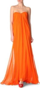 Silk Chiffon Bustier Gown - style: ballgown; fit: loose; pattern: plain; sleeve style: strapless; neckline: sweetheart; bust detail: ruching/gathering/draping/layers/pintuck pleats at bust, tiers/frills/bulky drapes/pleats; predominant colour: bright orange; occasions: evening, occasion; length: floor length; fibres: silk - 100%; hip detail: soft pleats at hip/draping at hip/flared at hip; sleeve length: sleeveless; texture group: sheer fabrics/chiffon/organza etc.; trends: volume; pattern type: fabric