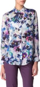 Floral Print Shirt - neckline: shirt collar/peter pan/zip with opening; style: shirt; occasions: casual, evening, work, occasion; length: standard; fibres: silk - mix; fit: loose; predominant colour: multicoloured; sleeve length: long sleeve; sleeve style: standard; texture group: silky - light; trends: high impact florals; pattern type: fabric; pattern size: big & busy; pattern: florals, patterned/print