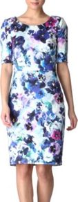 Floral Dress - style: shift; neckline: round neck; fit: tailored/fitted; waist detail: fitted waist; hip detail: fitted at hip, sculpting darts/pleats/seams at hip; occasions: evening, work, occasion; length: just above the knee; fibres: cotton - stretch; shoulder detail: flat/draping pleats/ruching/gathering at shoulder; predominant colour: multicoloured; sleeve length: half sleeve; sleeve style: standard; texture group: cotton feel fabrics; trends: high impact florals; pattern type: fabric; pattern size: big &amp; busy; pattern: florals, patterned/print