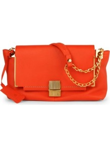 New Partition Large Shoulder Bag - predominant colour: bright orange; occasions: evening, work, occasion; type of pattern: standard; style: shoulder; length: shoulder (tucks under arm); size: small; material: leather; embellishment: tassels, chain/metal; pattern: plain; trends: fluorescent; finish: plain