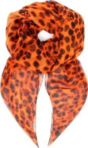 Leopard Skull Silk Chiffon Scarf - predominant colour: bright orange; occasions: casual, evening, work, occasion, holiday; type of pattern: heavy; style: square; size: standard; material: silk; pattern: animal print, patterned/print; trends: statement prints