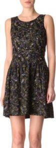 Wildwood Embroidered Dress - length: mid thigh; neckline: round neck; pattern: plain; sleeve style: sleeveless; waist detail: fitted waist, twist front waist detail/nipped in at waist on one side/soft pleats/draping/ruching/gathering waist detail; predominant colour: black; occasions: casual, evening, work, occasion; fit: fitted at waist &amp; bust; style: fit &amp; flare; fibres: cotton - 100%; hip detail: ruching/gathering at hip, soft pleats at hip/draping at hip/flared at hip; sleeve length: sleeveless; trends: statement prints, glamorous day shifts; pattern type: fabric; pattern size: standard; texture group: jersey - stretchy/drapey; embellishment: embroidered