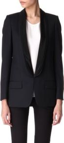 Triple Lapel Blazer - pattern: plain; style: single breasted blazer; collar: shawl/waterfall; length: below the bottom; predominant colour: black; occasions: evening, work, occasion; fit: tailored/fitted; fibres: wool - 100%; sleeve length: long sleeve; sleeve style: standard; texture group: cotton feel fabrics; trends: tuxedo; collar break: low/open; pattern type: fabric; pattern size: standard