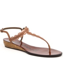 Mini Wedge Ery Leather Sandals - predominant colour: tan; occasions: casual, evening, holiday; material: leather; heel height: mid; embellishment: buckles, applique; ankle detail: ankle strap; heel: wedge; toe: toe thongs; style: standard; finish: metallic; pattern: plain