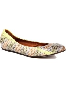 Lancelot Yer Leather Pumps - predominant colour: yellow; occasions: casual, evening, work; material: leather; heel height: flat; toe: round toe; style: ballerinas / pumps; trends: metallics; finish: metallic; pattern: animal print