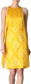 Fringed Floral Dress - style: shift; pattern: plain; sleeve style: sleeveless; bust detail: added detail/embellishment at bust; waist detail: fitted waist; back detail: low cut/open back; predominant colour: yellow; occasions: evening, occasion; length: just above the knee; fit: body skimming; fibres: polyester/polyamide - 100%; neckline: crew; hip detail: contrast fabric/print detail at hip; sleeve length: sleeveless; texture group: silky - light; pattern type: fabric; pattern size: big & light; embellishment: fringing
