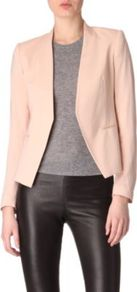 Lanai Blazer - pattern: plain; style: single breasted blazer; collar: round collar/collarless; predominant colour: blush; occasions: casual, evening, work, occasion; length: standard; fit: tailored/fitted; sleeve length: long sleeve; sleeve style: standard; collar break: low/open; pattern type: fabric; texture group: woven light midweight; fibres: viscose/rayon - mix