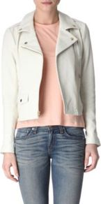 Leather Biker Jacket - pattern: plain; style: biker; collar: standard biker; fit: slim fit; predominant colour: white; occasions: casual; length: standard; fibres: leather - 100%; sleeve length: long sleeve; sleeve style: standard; texture group: leather; collar break: high/illusion of break when open; pattern type: fabric