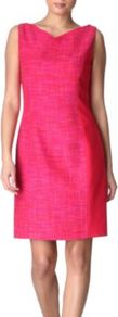 Margie Dress - style: shift; fit: tailored/fitted; pattern: plain; sleeve style: sleeveless; predominant colour: pink; occasions: work, occasion; length: just above the knee; neckline: crew; sleeve length: sleeveless; pattern type: fabric; texture group: tweed - light/midweight; fibres: viscose/rayon - mix