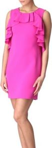 Pandora Dress - style: shift; length: mid thigh; neckline: round neck; pattern: plain; sleeve style: sleeveless; back detail: contrast pattern/fabric at back; bust detail: ruching/gathering/draping/layers/pintuck pleats at bust, tiers/frills/bulky drapes/pleats; predominant colour: hot pink; occasions: evening, occasion; fit: straight cut; fibres: polyester/polyamide - mix; sleeve length: sleeveless; texture group: crepes; trends: fluorescent, sculptural frills; pattern type: fabric