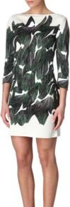 Ruri Printed Dress - style: shift; length: mini; neckline: slash/boat neckline; fit: tailored/fitted; waist detail: fitted waist; predominant colour: dark green; occasions: casual, evening, work, occasion; fibres: silk - 100%; sleeve length: 3/4 length; sleeve style: standard; texture group: crepes; trends: statement prints, glamorous day shifts; pattern type: fabric; pattern size: big &amp; busy; pattern: patterned/print