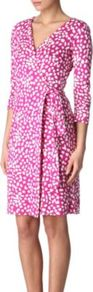 New Julian Two Wrap Dress - style: faux wrap/wrap; neckline: v-neck; waist detail: fitted waist, twist front waist detail/nipped in at waist on one side/soft pleats/draping/ruching/gathering waist detail, belted waist/tie at waist/drawstring; bust detail: ruching/gathering/draping/layers/pintuck pleats at bust; predominant colour: hot pink; occasions: evening, work, occasion; length: just above the knee; fit: body skimming; fibres: silk - 100%; hip detail: soft pleats at hip/draping at hip/flared at hip; shoulder detail: flat/draping pleats/ruching/gathering at shoulder; sleeve length: 3/4 length; sleeve style: standard; texture group: silky - light; trends: statement prints; pattern type: fabric; pattern size: small &amp; busy; pattern: patterned/print