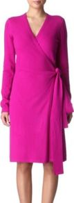 Linda Knitted Wrap Dress - style: faux wrap/wrap; neckline: v-neck; pattern: plain; waist detail: fitted waist, belted waist/tie at waist/drawstring; predominant colour: hot pink; occasions: casual, evening, work, holiday; length: just above the knee; fit: body skimming; fibres: wool - mix; hip detail: soft pleats at hip/draping at hip/flared at hip; sleeve length: long sleeve; sleeve style: standard; texture group: knits/crochet; trends: glamorous day shifts; pattern type: knitted - fine stitch