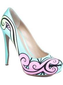 Trickster Printed Leather Courts - predominant colour: turquoise; occasions: evening, occasion; material: leather; heel height: high; heel: stiletto; toe: round toe; style: courts; trends: statement prints, modern geometrics; finish: plain; pattern: patterned/print