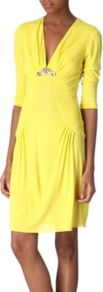 Embellished Jersey Dress - style: shift; neckline: low v-neck; bust detail: added detail/embellishment at bust, ruching/gathering/draping/layers/pintuck pleats at bust; waist detail: fitted waist; predominant colour: yellow; occasions: casual, evening, holiday; length: just above the knee; fit: body skimming; fibres: polyester/polyamide - stretch; hip detail: soft pleats at hip/draping at hip/flared at hip; sleeve length: 3/4 length; sleeve style: standard; trends: fluorescent; pattern type: fabric; texture group: jersey - stretchy/drapey; embellishment: beading