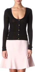 Lace Side Cardigan - neckline: round neck; bust detail: buttons at bust (in middle at breastbone)/zip detail at bust; predominant colour: black; occasions: casual, evening, work; length: standard; style: standard; fibres: silk - 100%; fit: slim fit; waist detail: fitted waist; sleeve length: long sleeve; sleeve style: standard; texture group: knits/crochet; pattern type: knitted - fine stitch; pattern size: small &amp; light; embellishment: embroidered