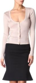 Lace Side Cardigan - neckline: round neck; shoulder detail: contrast pattern/fabric at shoulder; bust detail: buttons at bust (in middle at breastbone)/zip detail at bust; predominant colour: blush; occasions: casual, evening, work; length: standard; style: standard; fibres: silk - 100%; fit: slim fit; sleeve length: long sleeve; sleeve style: standard; texture group: knits/crochet; pattern type: knitted - fine stitch; pattern size: small &amp; light; embellishment: embroidered