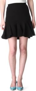 Flared Hem Skirt - length: mid thigh; pattern: plain; fit: tailored/fitted; waist detail: fitted waist; waist: high rise; hip detail: fitted at hip, soft pleats at hip/draping at hip/flared at hip, ruffles/tiers/tie detail at hip; predominant colour: black; occasions: casual, evening, work; style: fit & flare; fibres: wool - mix; texture group: crepes; trends: volume; pattern type: fabric; pattern size: standard