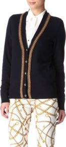 Chain Cardigan - neckline: low v-neck; predominant colour: navy; occasions: casual, work; length: standard; style: standard; fibres: cotton - mix; fit: standard fit; sleeve length: long sleeve; sleeve style: standard; texture group: knits/crochet; pattern type: knitted - other; pattern size: small & light