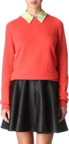 Sloane Cashmere Jumper - neckline: round neck; sleeve style: extended cuff; pattern: plain; style: standard; predominant colour: coral; occasions: casual, work; length: standard; fit: slim fit; fibres: cashmere - 100%; sleeve length: long sleeve; texture group: knits/crochet; pattern type: knitted - fine stitch