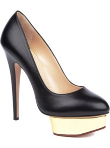 Dolly Leather Courts - predominant colour: black; occasions: evening, work, occasion; material: leather; heel height: high; heel: platform; toe: pointed toe; style: courts; finish: plain; pattern: plain