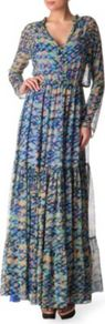 Alexia Printed Gown - neckline: low v-neck; style: maxi dress; predominant colour: pale blue; occasions: casual, evening, holiday; length: floor length; fit: body skimming; fibres: silk - 100%; hip detail: sculpting darts/pleats/seams at hip; sleeve length: long sleeve; sleeve style: standard; texture group: sheer fabrics/chiffon/organza etc.; pattern type: fabric; pattern size: small & busy; pattern: patterned/print